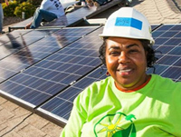 Solar panel and woman worker