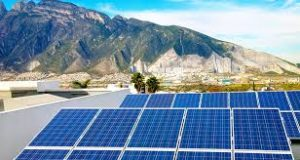 Solar panels in landscape