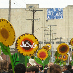 Environmental Justice demonstration with sunflowers